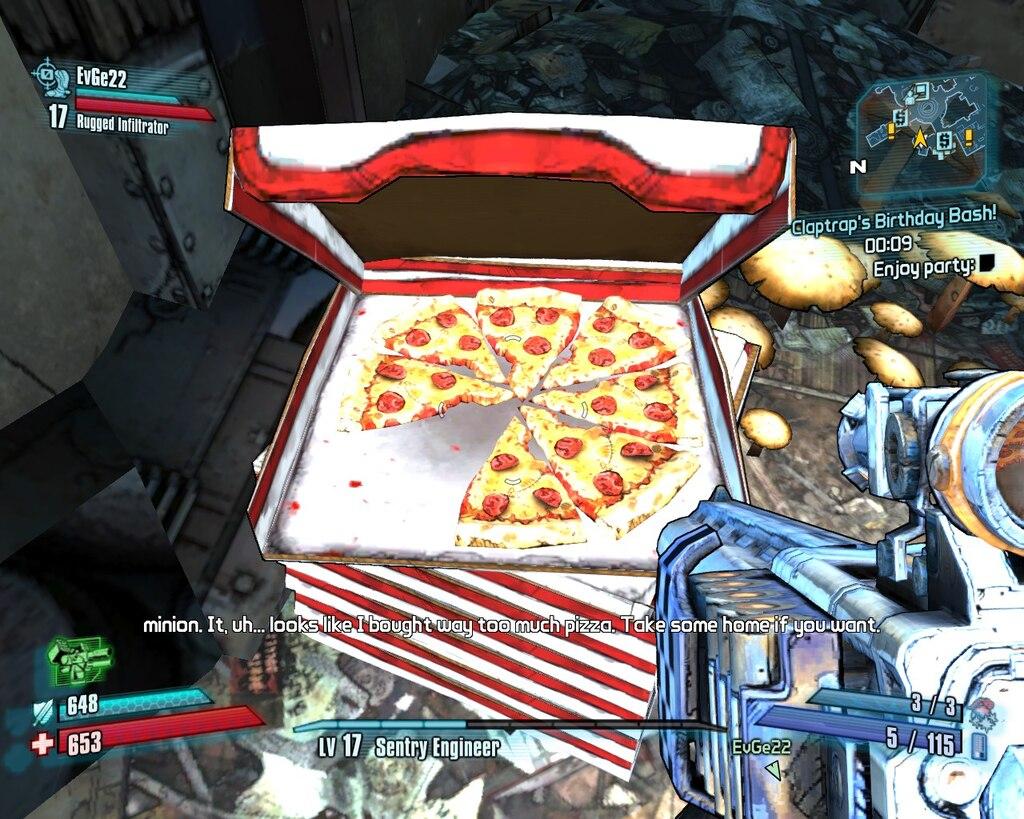 Pizza Claptrap Party Borderlands 2