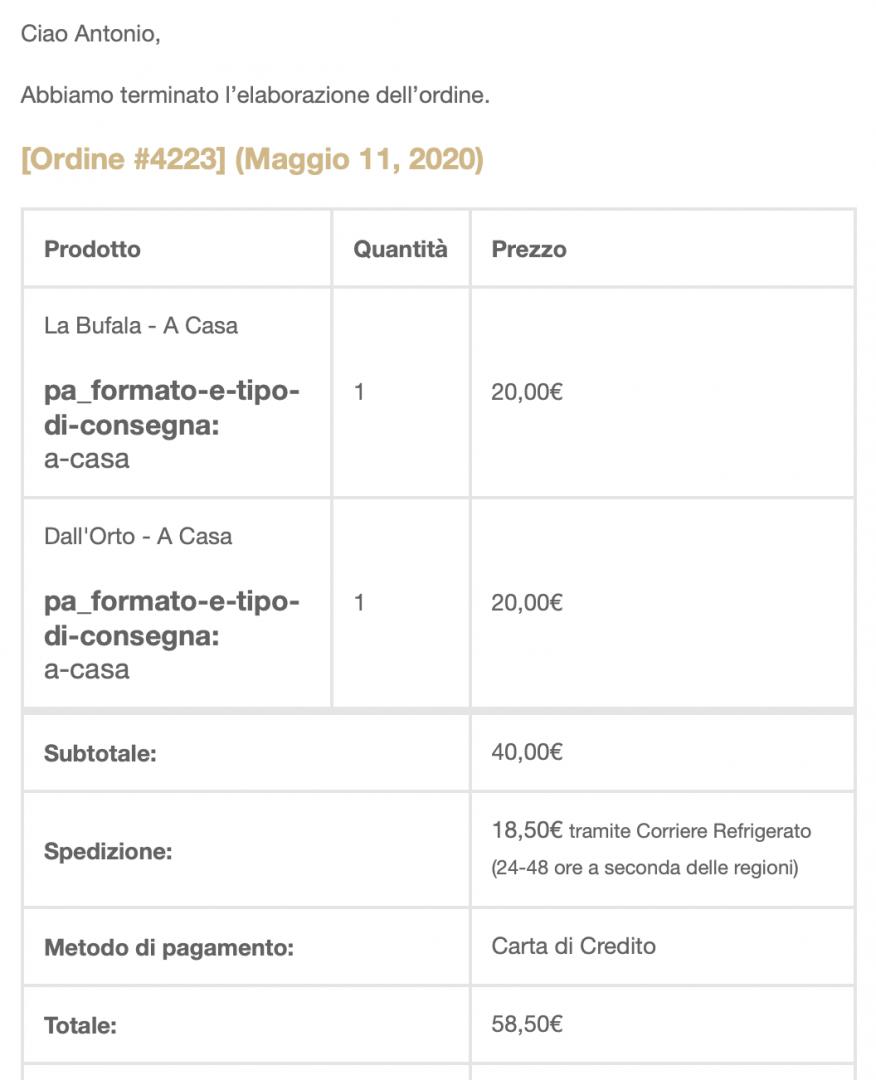 L'ordine effettuato presso l'e-commerce de I Tigli, Verona