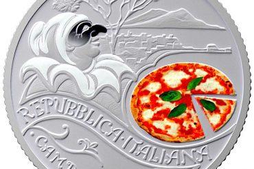 Moneta 5 euro pizza e mozzarella