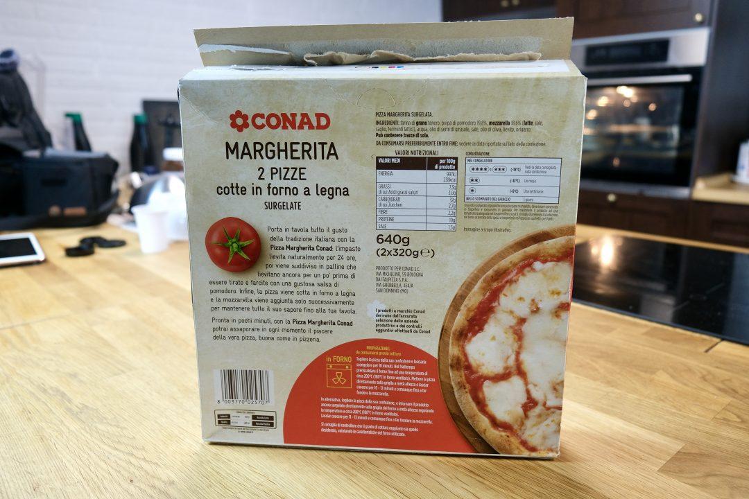 Pizza Surgelata Conad, retro confezione