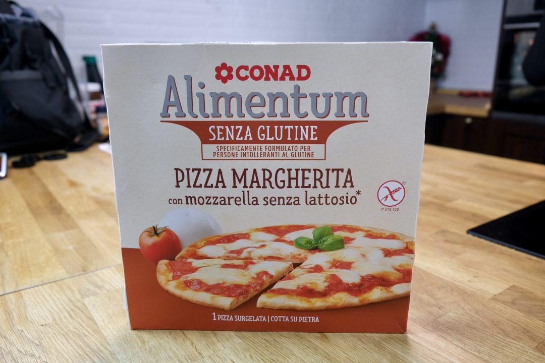 Pizza surgelata senza glutine e senza lattosio Conad, confezione