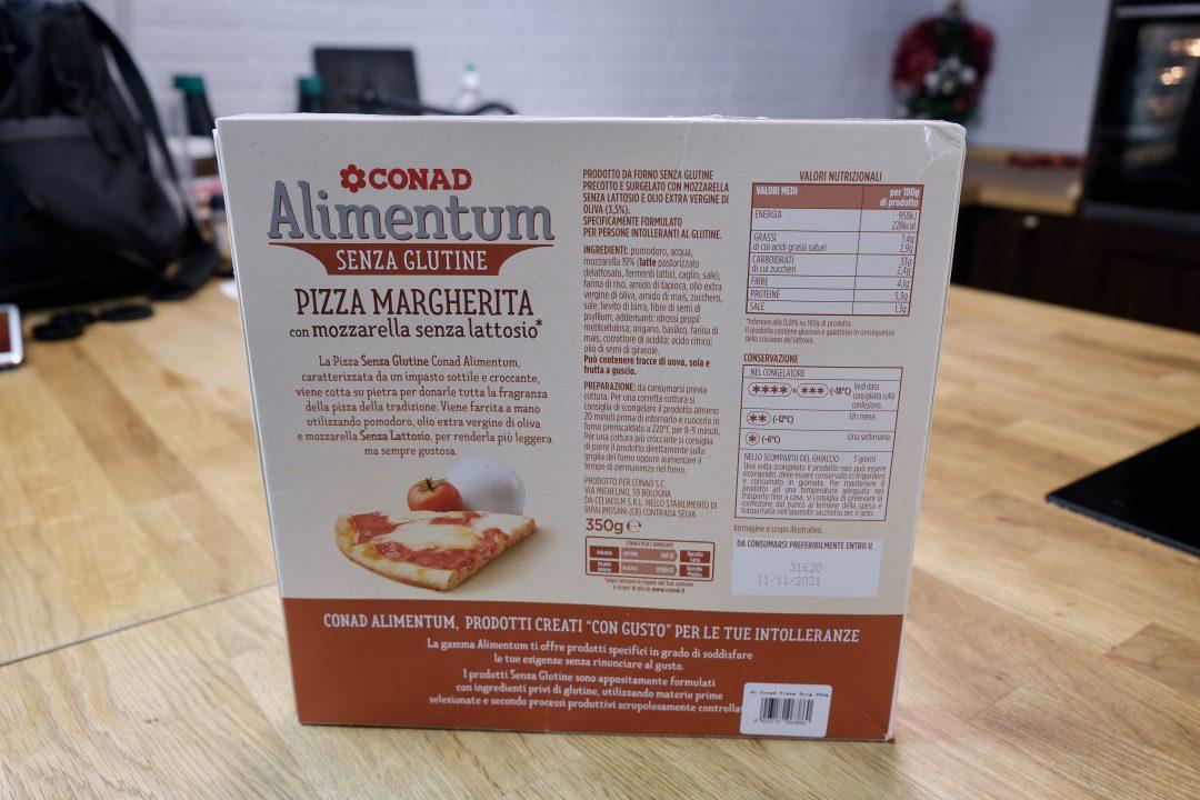 Pizza surgelata senza glutine e senza lattosio Conad, confezione retro