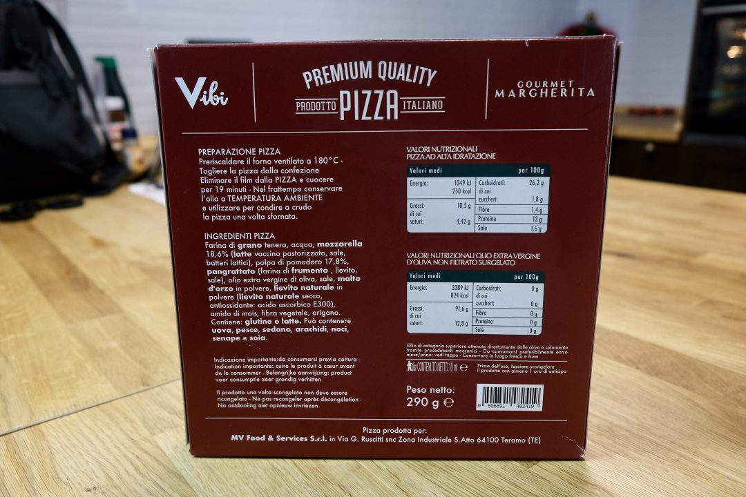 Pizza Surgelata Vibi Premium, confezione retro