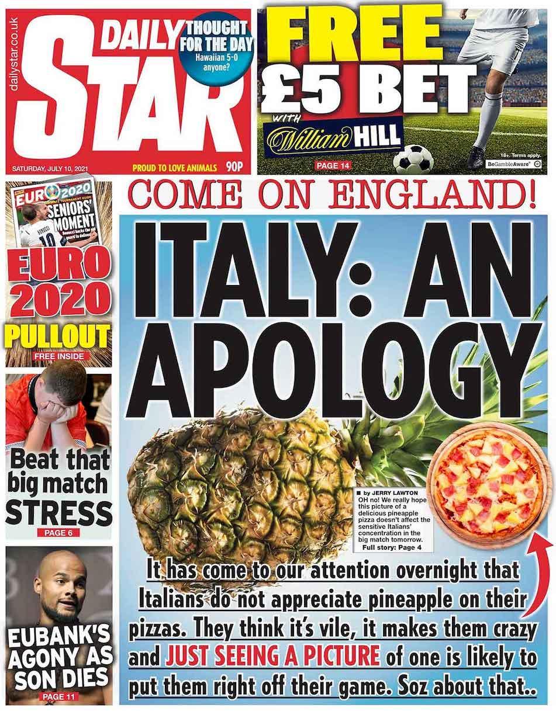 Italia inghilterra ananas sulla pizza