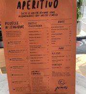 Menu aperitivo (Pizzeria Pisani, Pozzuoli)