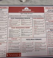 Menu (Pizzeria Fornace Stella, Roma)